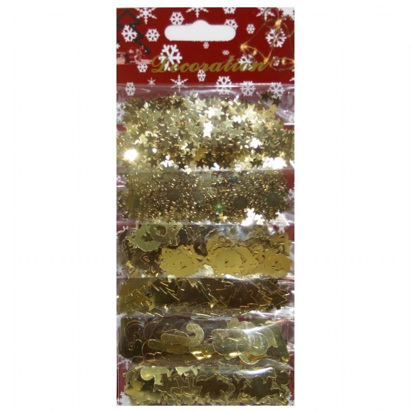 GOLD Christmas Confetti Foiletti (Angels Trees Stars Snowflakes Wreaths Candy Canes) Pack of 6